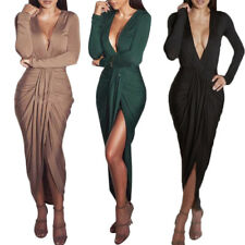 Women's Sexy Deep V-Neck Plunge Ruched Split Long Sleeve Cowl Maxi Bodycon Dress