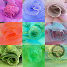 Two-Tone Crystal Iridescent Mirrored Organza Fabric Sheer Decor Mesh Dress Party