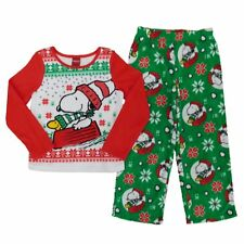 Peanuts Snoopy Christmas Unisex kids Pajamas Set Woodstock & Snowflakes NEW