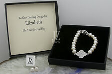 Freshwater Pearl Bracelet  Sterling Silver Crystal  Charm & Clasp. Pearl Studs.