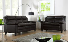 METRO Small Brown Leather Sofa Sofas Couch Settee