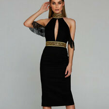 Women Black Choker Halter Beaded Tassel Bandage Off Shoulder Split Party Dress