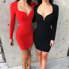 New Women Sexy Deep V Neck Long Sleeves Bodycon Bandage Mini Dress Evening Party