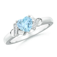 Solitaire Natural Aquamarine Heart Diamond Ring 14k White Gold