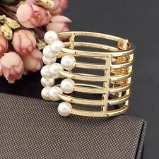 Women Pearl Decorated White Color Alloy Metal Adjustable Bangle Bracelet X914