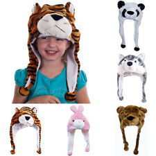 Cartoon Animal Outdoor Fluffy Fur Plush Warm Hood Beanie Hat Cap Scarf Hood