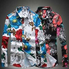 Men's Tops Stand Collar slim fit Suits Floral T-shirt Long Sleeve Buttons Coats