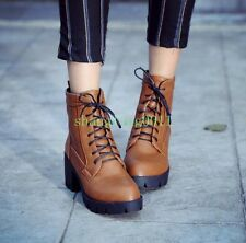 Womens Gothic Lace Up Chunky Heels Platform Ankle Boots Warm Boots Shoes Plus