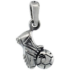"""Sterling Silver Soccer Ball & Shoe Pendant Charm 5/8"""" tall"""