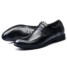 """GOG Men's 2.4"""" Height Increase Black Leather Lace Up Casual Shoes Multiple Sizes"""