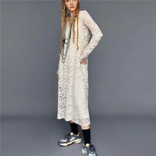 Women Floral Pattern V-neck Long Sleeved White Color Bodycon Dress F607