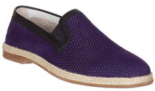 Dolce & Gabbana Men's Purple Suede Perforated Loafers Slip On Flats Shoes
