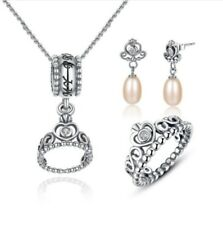 Authentic Sterling Silver 'My Princess Tiara' Jewelry Set Sterling Silver-Freshw