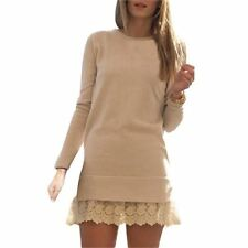 Women 2 Color Long Sleeve Round Neck Lace Embroidered Pattern Dress N393