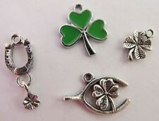 4 leaf clover shamrock wishbone good luck lucky horseshoe charm sets graduation