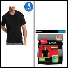 Hanes Mens Dyed V Neck T Shirt FreshIQ casual short Sleeve ComfortSoft 4 Pack