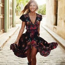 Women Deep V Neck Lace Up Printed Ruffle Decorated Vintage Dress A746