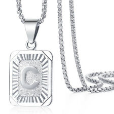 Initial Letter A-Z Pendant Womens Mens Necklace Chain White Gold Filled Box Link