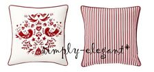 """NEW IKEA Cushion Cover Vinter Throw Deco Pillow Cover 20x20 """" Red Birds Striped"""