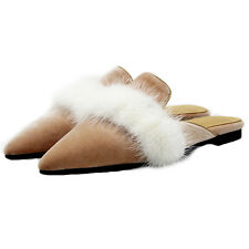 Pointed Toe Mules Shoes Women's Slippers Faux Fur Flat Sandals US Size 6-12