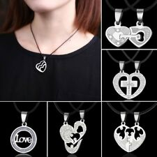 Friendship Heart Letters Family Couple Lover Necklace Pendant Chain Jewelry Gift