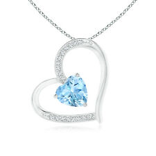 Solitaire Aquamarine Tilted Heart Pendant with Pave Diamonds 14K White Gold