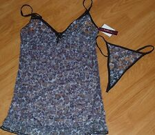 NATIVE INTIMATES TEDDIE SIZE M PURPLE FLORAL LACE SHEER THONG NWT