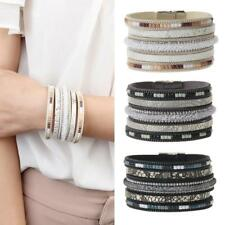 Vintage Bracelet Charms Wide Leather Bangle Hand Chain Crystal Novelty Women