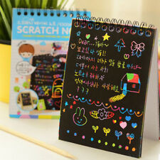 12 Sheets Magic Scratch Art Painting Paper With Drawing Stick Colorful Kids Toy