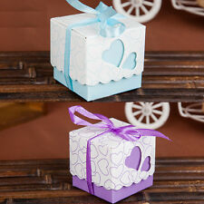 Blue/Purple Love Heart Baby Shower Wedding Favours Candy Sweets Gift Boxes Decor