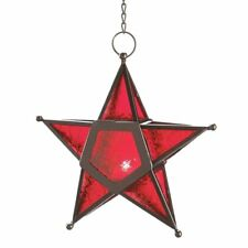 Metal Star Glass Tea Light Candle Holders Star Lantern Wall Hanging Lamp Decor T
