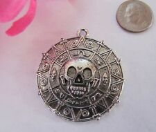 Pirate medallion Davy Jones sword skull ship cross bones flag map booty charms