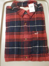 NWT Hollister Button Down Flannel Shirt Red/Navy Plaid Large