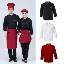 Black/White/Red Coat Chef Apparel Unisex Long Sleeve Chef Jacket Stub Button