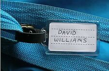 Plastic Luggage Tag / School Bag Tag , Leather Strap & Buckle Insert Cards