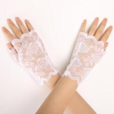 Women Girls Bridal Wedding Prom Evening Party Roses Lace Fingerless Short Gloves