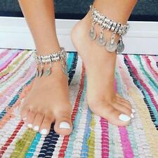 Behomia Jewelry Braided Cuff Bracelet Anklets Chain with Lucky Carved Coins