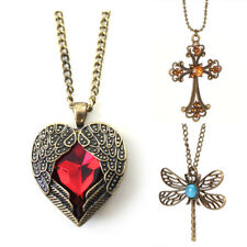Women Retro Vintage Long Sweater Chain Crystal Pendant Costume Jewelry Necklace