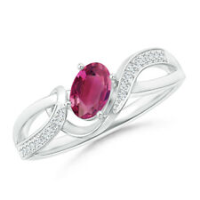 Solitaire Oval Pink Tourmaline with Pave Diamond Accents Ring 14K White Gold
