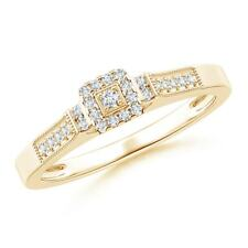 Milgrain-Edged Diamond Square Halo Engagement Ring 14K Yellow Gold Size 3-13