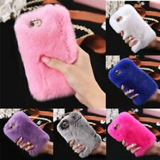 Cool Luxury Warm Soft Furry Rabbit Fur Diamond Back Case Cover For iPhone GD