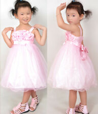 US STOCK Flower Girl Dress Pink Tull Tutu Dance Pageant Kids Boutique Size 3-6