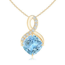 Solitaire Claw Cushion Aquamarine Infinity Pendant with Diamonds 14K Yellow Gold