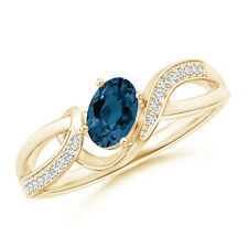 Oval London Blue Topaz Diamond Twisted Ribbon Ring 14k Yellow Gold Size 3-13