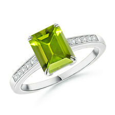 Solitaire Emerald Cut Green Peridot Diamond Accents Ring 14k Gold Size 3-13