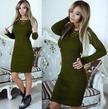 Women Solid Pattern V-neck Long Sleeve Lace-up Bodycon Midi Dress