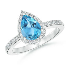 Pear Shape Swiss Blue Topaz Diamond Halo Engagement Ring 14k White Gold