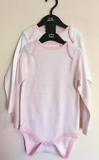 New Baby Girls Exstore Next 2 Pack Pink Long Sleeved Vests Size 12/18 Month