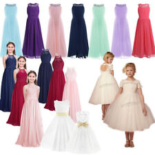 Girls Lace Dress Princess Party Birthday Wedding Pageant Formal Gown Bridesmaid
