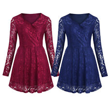 Elegant Women Floral Lace Overlay Long Sleeves Evening Party V-neck A-line Dress